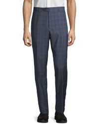 Santorelli - Windowpane Check Wool Trousers - Lyst
