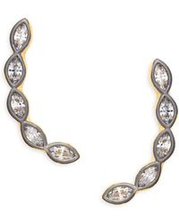 Freida Rothman - Sterling Silver & Crystal Marquise Climber Earrings - Lyst