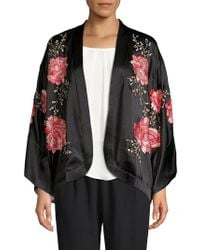 Natori - Silk Open Front Embroidery Wrap - Lyst