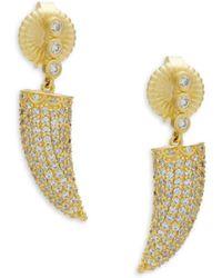 Freida Rothman - Sterling Silver Pave Horn Drop Earrings - Lyst