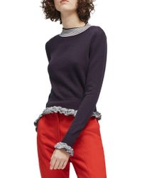 French Connection - Knit Ruffle-trim Jumper - Lyst