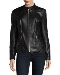 Karl Lagerfeld - Mandarin Leather Motorcycle Jacket - Lyst