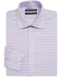 Saks Fifth Avenue Black - Windowpane Cotton Dress Shirt - Lyst
