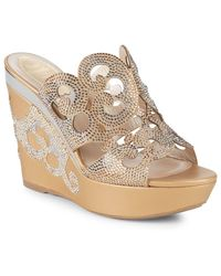 Rene Caovilla - Cut-out Embellished Wedge Sandals - Lyst