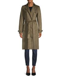 T Tahari - Mel Faux Suede Trench Coat - Lyst