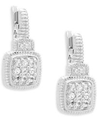 Judith Ripka - White Sapphire Cushion Drop Earrings - Lyst