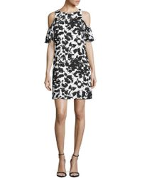 Julia Jordan - Printed Cold-shoulder Dress - Lyst