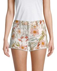 7 For All Mankind - Floral Cut-off Shorts - Lyst