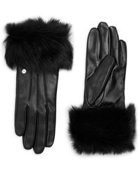 UGG - Dyed Shearling Trimmed Leather Gloves - Lyst