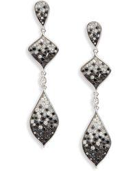 Plevé - White Diamond, Black Diamond & 18k White Gold Earrings - Lyst