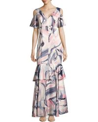Kay Unger - Swirl Print Cold-shoulder Ruffle Gown - Lyst
