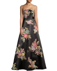 Basix Black Label - Floral-print Strapless Gown - Lyst