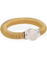 Alor - Diamond, 18k Yellow Gold & Stainless Steel Coil Bracelet - Lyst