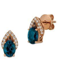 Le Vian - 14k Strawberry Gold Deep Sea Blue Topaz Vanilla Diamonds & Chocolate Diamonds Chocolatier Earrings - Lyst