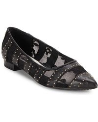 Alice + Olivia - Karen Leather Embellished Flats - Lyst