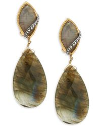 Alexis Bittar - Crystal And Labradorite Double Drop Earrings - Lyst