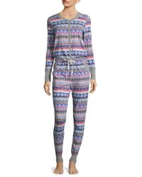 Jane And Bleecker - Printed Long Sleeve Pajamas - Lyst