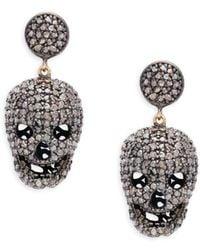 Bavna - Skull Sterling Silver And Diamond Drop Earrings - Lyst