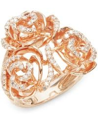 Effy - Diamond & 14k Rose Gold Solid Fill Statement Ring - Lyst