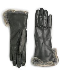 Saks Fifth Avenue - Rabbit Fur Cuff Leather Gloves - Lyst