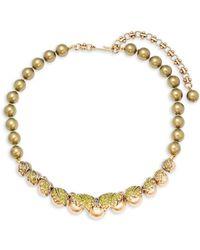 Heidi Daus - Gold & Khaki Faux Pearl Necklace - Lyst