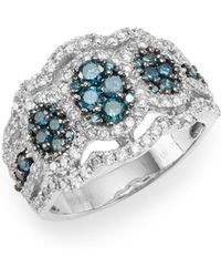 Effy - Blue & White Diamond & 14k White Gold Scalloped Ring - Lyst