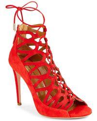 Aquazzura - Unforgettable Leather Stiletto Court Shoes - Lyst