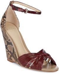 Alexandre Birman - Textured Leather Wedge Sandals - Lyst