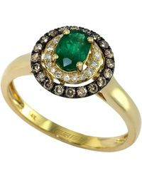 Effy | Brasilica 14kt. Yellow Gold Emerald Ring With Brown And White Diamonds | Lyst