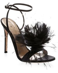 Gianvito Rossi - Feather Flower Ankle-wrap Sandals - Lyst