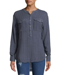 Free People - Long-sleeve Frayed-hem Shirt - Lyst