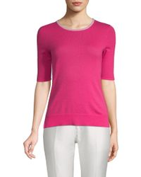 Saks Fifth Avenue Black - Elbow-sleeve Cashmere Top - Lyst