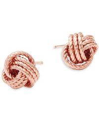 Saks Fifth Avenue - 14k Rose Gold Twist Knot Earrings - Lyst