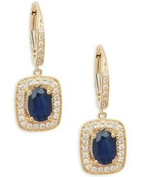 Effy - Diamond & Sapphire 14k Yellow Gold Drop Earrings - Lyst