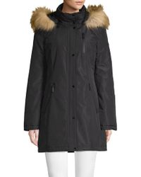 Tahari - Whitney Faux Fur-trimmed Hooded Coat - Lyst