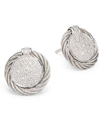Alor - Diamond 18k White Gold Stainless Steel Button Earrings - Lyst