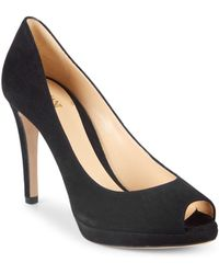 Armani - Suede Peep Toe Court Shoes - Lyst