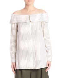 d1aac585c825c8 Lyst - Tibi Frederic Pinstripe Off-the-shoulder Top in Black