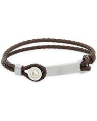 Saks Fifth Avenue - Stainless Steel And 14k Gold Braided Leather Bracelet - Lyst