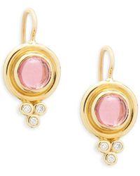 Temple St. Clair - 18k Yellow Gold & Diamond Drop Earrings - Lyst