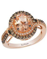 Le Vian - Chocolatier Peach Morganite, Vanilla Diamonds, Chocolate Diamonds And 14k Strawberry Gold Ring - Lyst