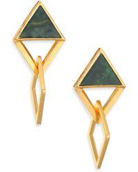 Stephanie Kantis - Element Green Moss Agate Drop Earrings - Lyst