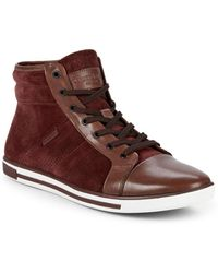 Kenneth Cole - High-top Leather Sneakers - Lyst