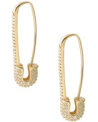 Gabi Rielle - 22k Yellow Goldplated Pavé Safety Pin Earrings - Lyst