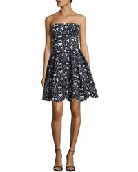 Maggy London - Bonded Mesh Floral Fit & Flare Dress - Lyst