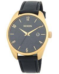 Nixon Bullet Leather Stainless Steel Quartz Strap Watch - Metallic