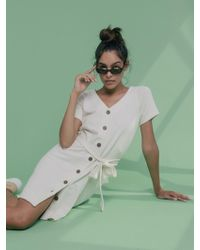62a256a866e5 ASOS Maternity Premium Oversized Shirt Dress In Natural Fibre in White -  Lyst