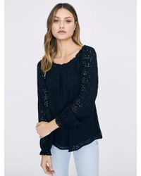 Sanctuary Clothing - Blooming Eyelet Ballet Neck Blouse - Lyst