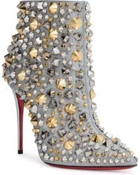 Christian Louboutin - So Full Kate 100 Silver Glitter Stud Boots - Lyst