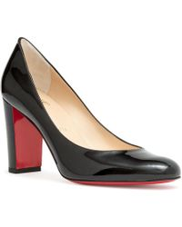 282367a905a Christian Louboutin - Lady Gena 85 Black Patent Leather Pumps - Lyst